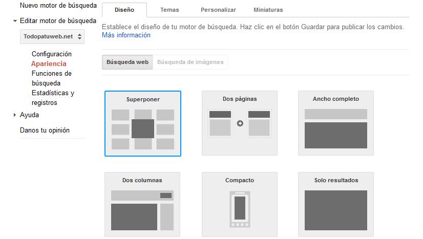 Personalizar motor de búsqueda