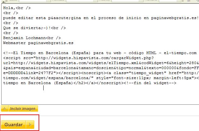 Pegar código en PaginaWebGratis